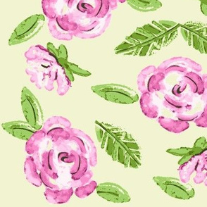 Shabby Pink Roses on Cream