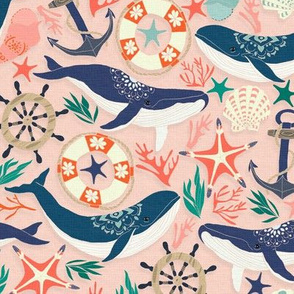 Whale Song on Coral Blush - Large Scale
