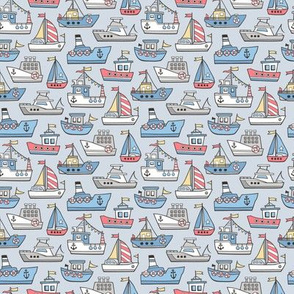 Boats Ships Nautical Maritime Doodle on Light Blue Smaller 1,2  inch