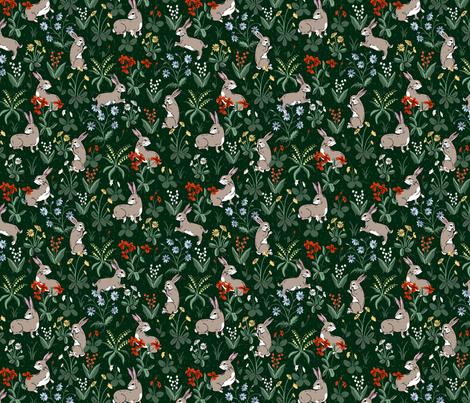 Bunny Rabbits Dark Green fabric by ernistine on Spoonflower - custom fabric