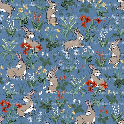 Bunny Rabbits Baby Blue