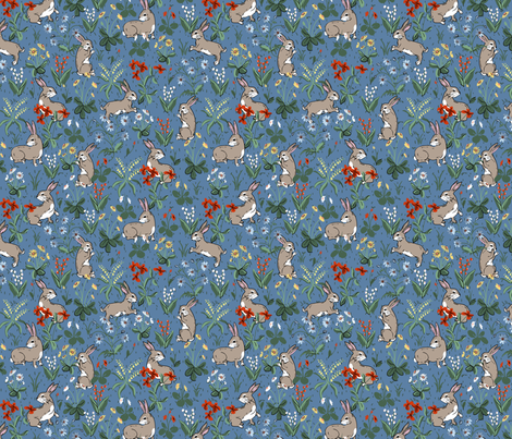Bunny Rabbits Baby Blue fabric by ernistine on Spoonflower - custom fabric