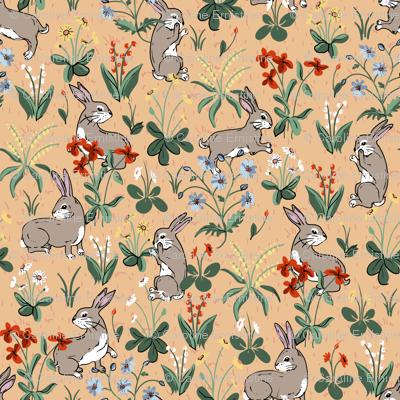 Bunny Rabbits Peach