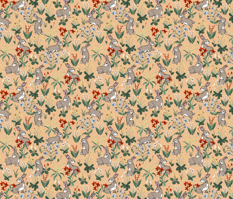 Bunny Rabbits Peach fabric by ernistine on Spoonflower - custom fabric