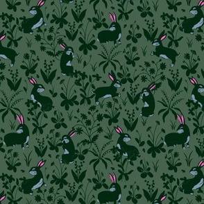 Bunny Rabbits Tapestry Green
