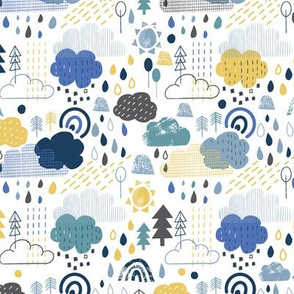 april showers in blue