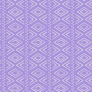 (small scale) Safari Wholecloth Diamonds on Purple - farmhouse diamonds - mud cloth fabric (90) C19BS