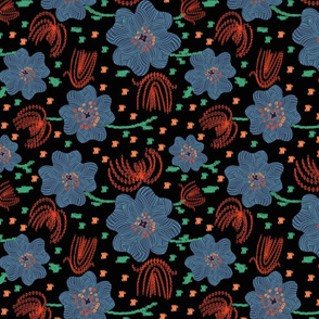 'embroidered' flowers