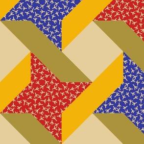 Chicken Feet Ribbon Star in Trendy 1920 Colors