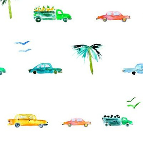 Havana traffic, bigger scale || watercolor cars pattern for baby boys