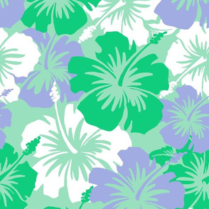 Oversized Hawaiian Hibiscus Floral- Mint Green