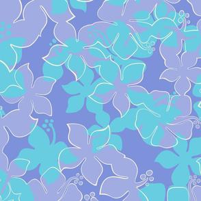 Hawaiian Hibiscus Camo Floral - Periwinkle