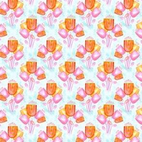 19-07h Orange Pink Tulip Watercolor