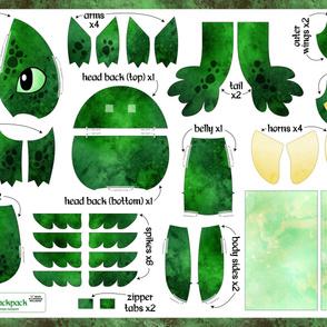 Cut & Sew Plush Dragon Backpack Green
