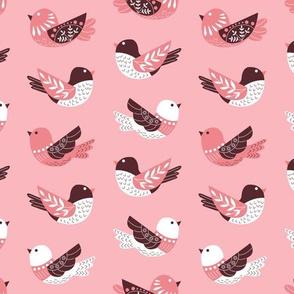 Floral Woodland Pink Birds V.02