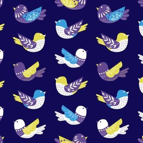 Floral Woodland Purple Birds
