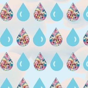 April Showers Raindrops-Blue