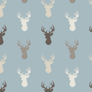 deer - dusty blue, taupe - rustic woodlands