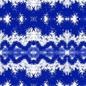 Shibori Wavelengths - blue and white