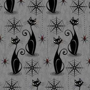 Retro Spooky Meow on Distressed Gray