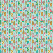 Popsicle Colourful Summer Ice Cream with Fruit and Sprinkles on Mint Green 0,75 inch