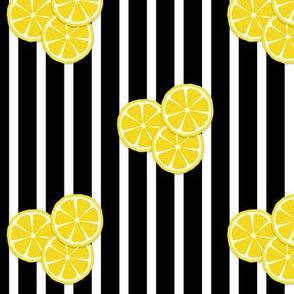 lemon slices on black stripes