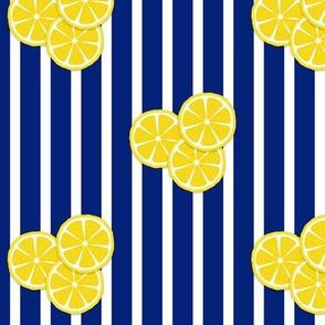 lemon slices on navy stripes