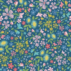 Whimsical Contemporary Floral Dark Blue Coral Pink Green Yellow