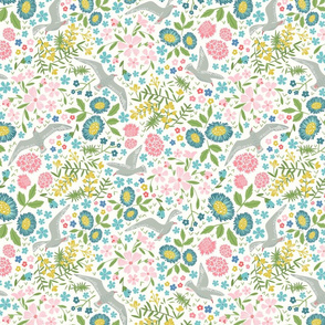 Contemporary Whimsical Seagull Birds Floral Pink Yellow Teal