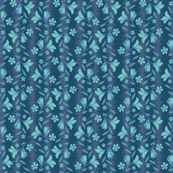 Whimsical Blue Teal Floral Flower Stripe