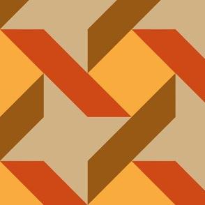 Ribbon Star in Trendy 1960s Colors Orange