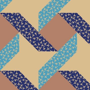 Chicken Feet Ribbon Star in Trendy 1940s Colors Blue and Beige