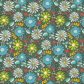 Blue Green Yellow Geometric Floral