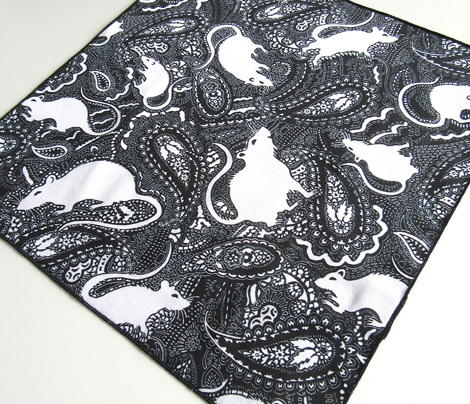 Paisley Rats - medium small version - black and white