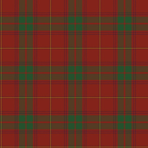 "Rothesay red tartan variant, 6"" with purple and gold stripes"