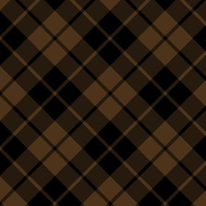 brown and black diagonal tartan