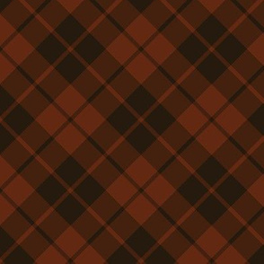 dark rust and brown diagonal tartan