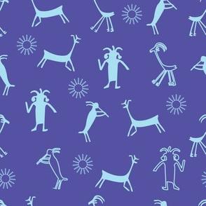 petroglyph4, purple background, light blue elements