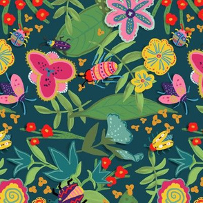 jungle bugs and flowers