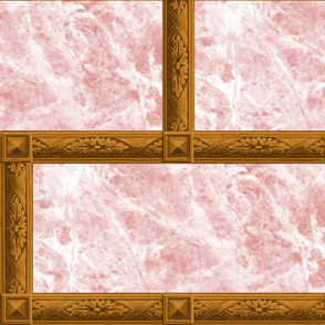 Neoclassical Frame Bricks ~ Rose Quartz Marble and Bright Gold