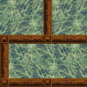 Neoclassical Frame Bricks ~ Emerald Quartz Marble and Rosewood