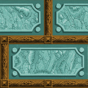 Neoclassical Marble Panels ~ Duck Egg Blue with Bronze