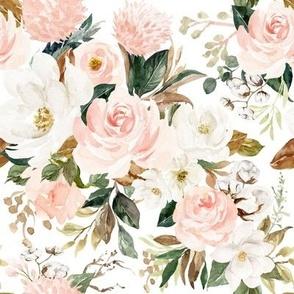 Vintage Magnolia Florals // White