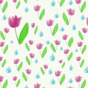 Raining on tulips