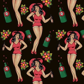Traditional Tattoo Moonshine Pinup Girl