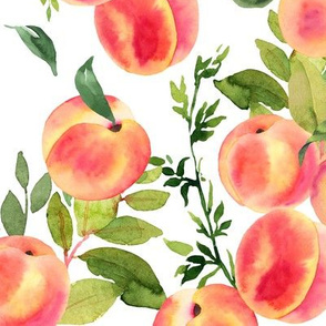 Watercolor Peaches // Medium // White