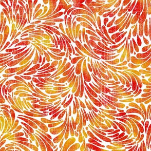 water splash in  red and yellows on linen