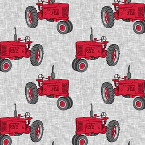 Vintage Tractors - Farming - Red on Grey - LAD19