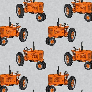Vintage Tractors - Farming - Orange on Grey - LAD19
