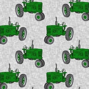 Vintage Tractors - Farming - green on grey - LAD19